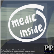 1 x Medic Inside-Window,Car,Van,Sticker,Sign,Vehicle,Adhesive,Army,War,First,Aid